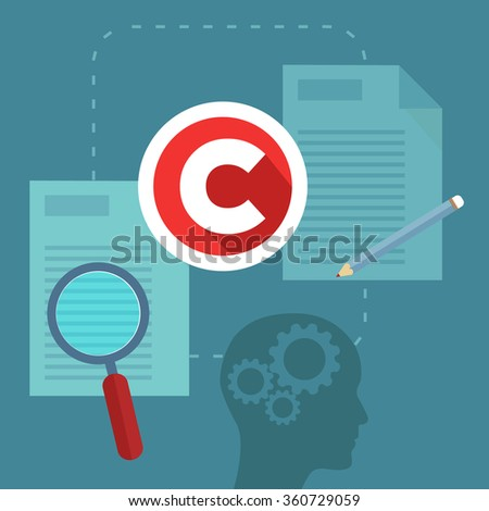 Abstract concept of copyrighting, ownership, intellectual property and author rights protection. Modern flat style design illustration - stock vector