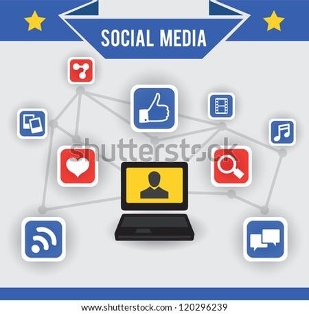 Abstract concept of social media - vector illustration - stock vector