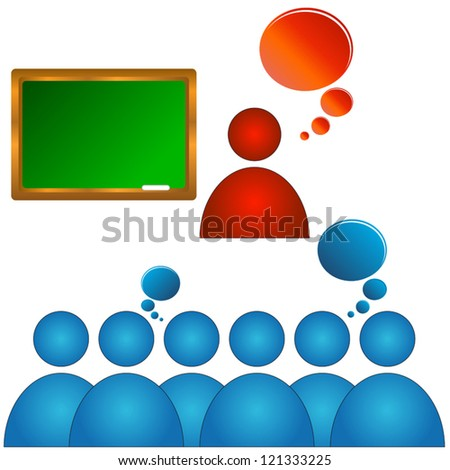 Abstract concept of training of audience with various elements - stock vector
