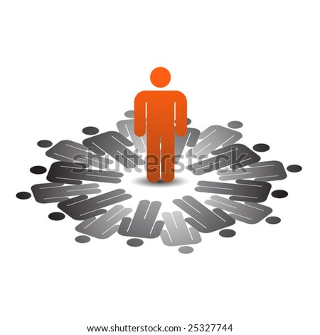 Abstract conceptual business people icon -  leadership - stock vector