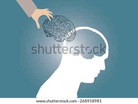 Abstract conceptual image of business body head and hand put human brain with space as background in vector - stock vector