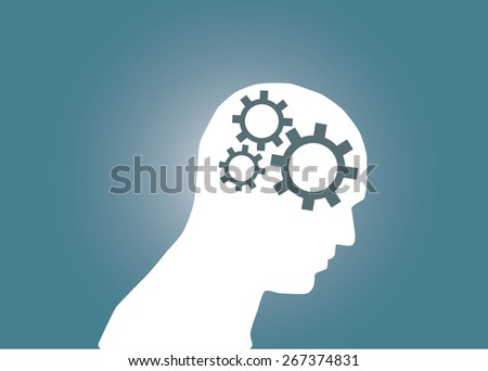 Abstract conceptual image of business human brain and gears cogwheel idea connection teamwork and creative template with space as background - stock vector