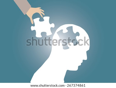 Abstract conceptual image of business human brain and hand put jigsaw idea connection teamwork for creative template with space as background - stock vector