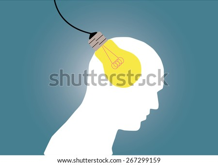 Abstract conceptual image of business human brain and plug-in idea with creative template with space as background - stock vector