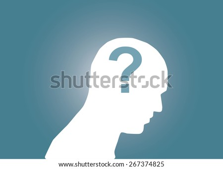 Abstract conceptual image of business human brain with question or confusion for creative template with space as background - stock vector