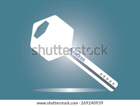 Abstract conceptual image of business key success icon for creative template with space as background in vector - stock vector