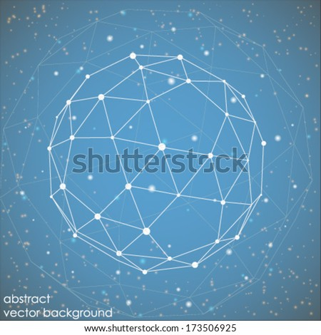 abstract connection points and lines on a blue background - stock vector
