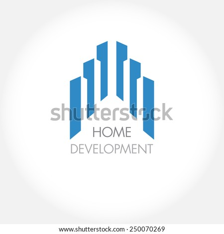 Abstract construction or real estate company logo design. Vector icon with buildings and houses - stock vector