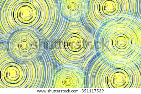 Abstract contemporary background with vortex circles of blue and yellow shades