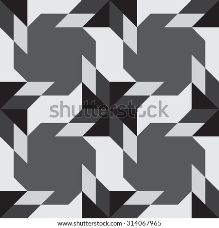 Abstract contemporary decorative seamless pattern with different geometrical shapes of black and grey shades