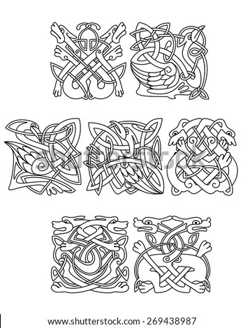 Abstract Contoured Animals And Birds In Traditional Celtic Knot Style Decorated Tribal Geometric Ornament Suitable For