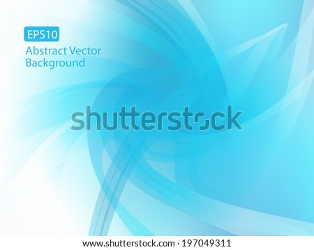 Abstract Cool Blue Vector Background with copy space  - stock vector