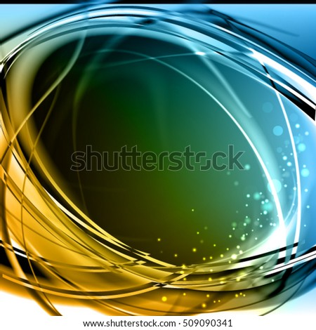 Abstract cool yellow and blue background. Expressive vector frame with glowing filament