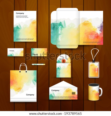 Abstract Corporate brand Business identity design Template Layout. Pen, CD, Cup, Letter, Folder, card. Vector company style brand design layout. Branding ID - stock vector