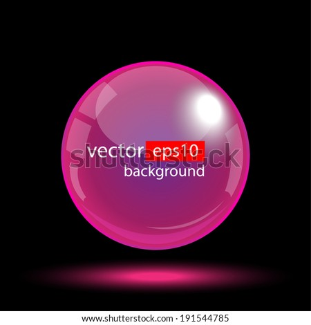 Abstract Corporate Design with Purple Glass Sphere - stock vector