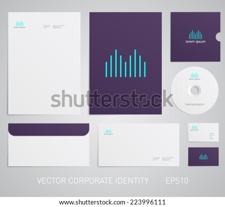 Abstract corporate stationery template with modern logo design. Corporate, company, identity, branding, brand, cd, business card, envelope, leaflet, letterhead, folder - stock vector