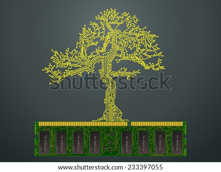 Abstract CPU tree on the computer memory - stock vector