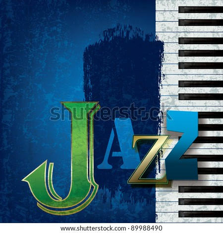 Abstract cracked jazz music background with piano - stock vector