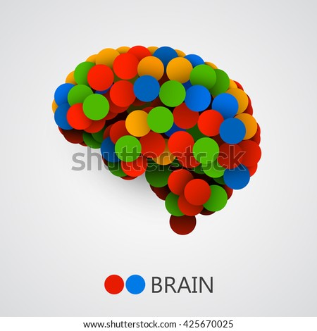 Abstract creative concept of  brain made with circles. Brain icon. Brain icon vector. Brain vector. Brain colorful. Brain icon app. Brain icon image. Vector illustration - stock vector