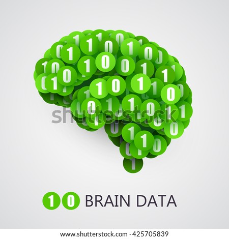 Abstract creative concept of digital or computer brain. Vector illustration - stock vector