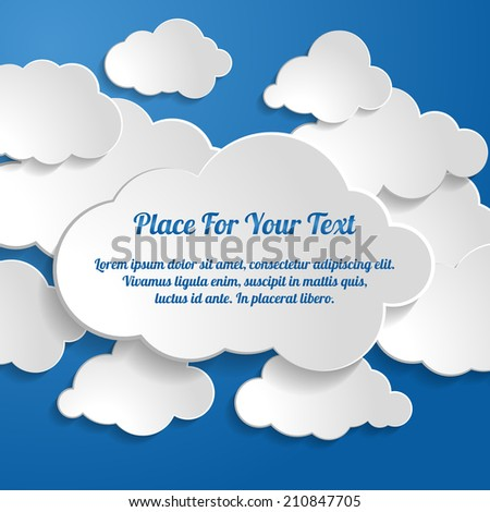 Abstract Creative concept vector clouds collection on a blue background - stock vector