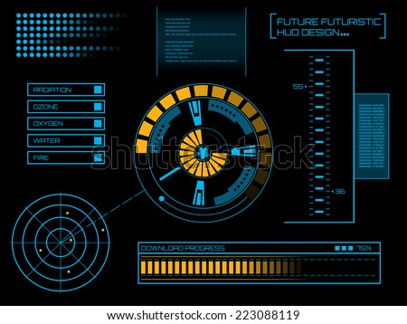 Abstract creative concept vector futuristic blue virtual graphic touch user interface HUD. For web, site, mobile applications isolated on black background, illustration, design, business infographic. - stock vector
