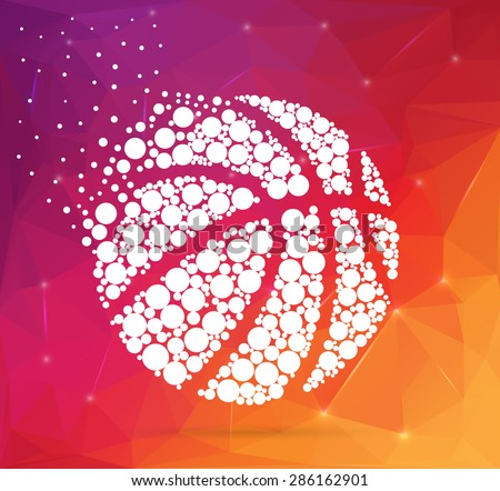 Abstract Creative concept vector icon of basket ball for Web and Mobile Applications. art illustration template design, Business infographic and social media, unusual team logo, colorful media symbol. - stock vector