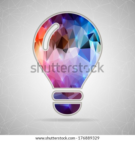 Abstract Creative concept vector icon of bulb for Web and Mobile Applications isolated on background. Vector illustration template design, Business infographic and social media, origami icons. - stock vector