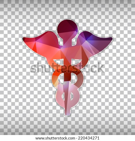 Abstract Creative concept vector icon of caduceus for Web and Mobile Applications isolated on background. Vector illustration template design, Business infographic and social media, origami art. - stock vector