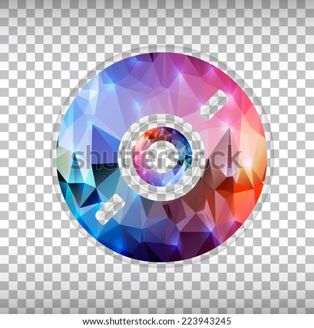 Abstract Creative concept vector icon of CD disk for Web and Mobile Applications isolated on background. Vector illustration template design, Business infographic and social media, origami icons. - stock vector