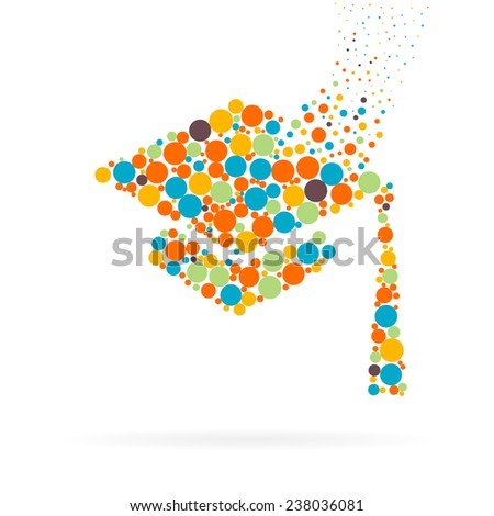 Abstract Creative concept vector icon of graduation cap for Web and Mobile Applications isolated on background. Art illustration template design, Business infographic and social media, digital flat. - stock vector