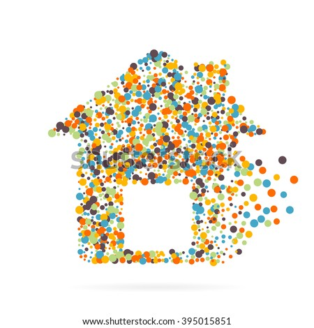 Abstract creative concept vector icon of house for Web and Mobile app isolated on background. Art illustration template design, Business infographic and social media, digital flat silhoette - stock vector