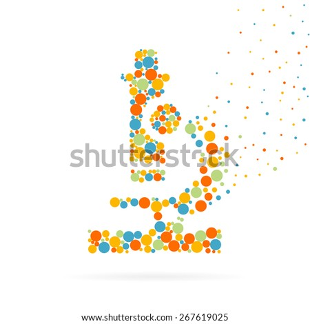 Abstract Creative concept vector icon of microscope for Web and Mobile Applications isolated on background. Art illustration template design, Business infographic and social media, logo. - stock vector