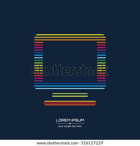 Abstract Creative concept vector icon of monitor for Web and Mobile Applications isolated on background. Vector illustration template design, Business infographic and social media, origami icons. - stock vector