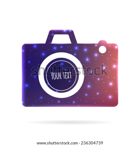 Abstract Creative concept vector icon of photo camera for Web and Mobile Applications isolated on background. Vector illustration template design, Business infographic and social media, origami icons. - stock vector