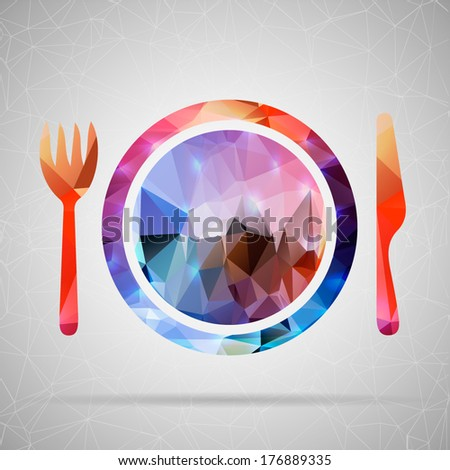 Abstract Creative concept vector icon of plate with knife and fork for Web and Mobile Applications isolated on background. Vector illustration template design, Business infographic and social media. - stock vector