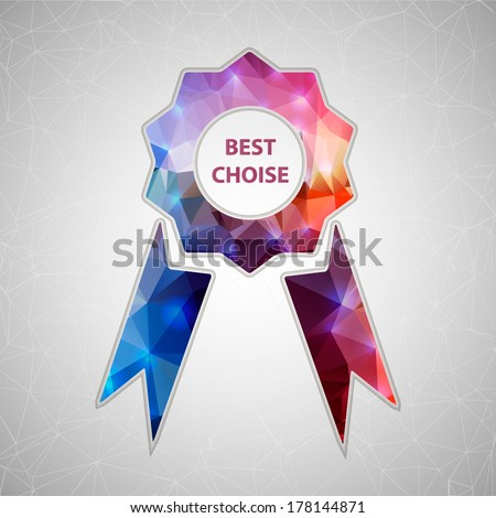 Abstract Creative concept vector icon of ribbons award for Web and Mobile Applications isolated on background. Vector illustration template design, Business infographic and social media, origami. - stock vector