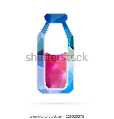 Abstract creative concept vector icon of the milk in the bottle. For web and mobile content isolated on background, unusual template design, flat silhouette object, social media image, triangle art. - stock vector