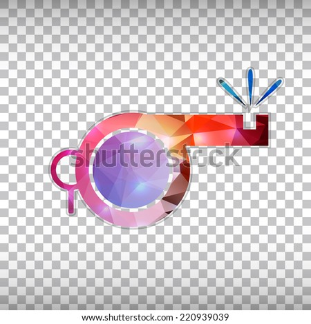Abstract Creative concept vector icon of whistle for Web and Mobile Applications isolated on background. Vector illustration template design, Business infographic and social media, origami icons. - stock vector