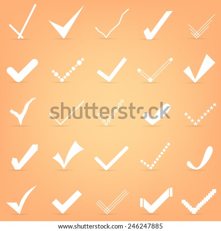 Abstract Creative concept vector icon set of check marks for Web and Mobile Applications, Illustration template design, art business infographic, page, brochure, banner, presentation, poster, cover. - stock vector