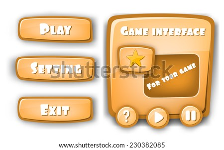 Abstract Creative concept vector Interface game design (resource bar and resource icons for games). Funny cartoon design UI game control panel including text, buttons for desktop, mobile and web app. - stock vector