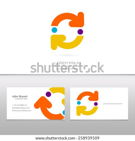 Abstract Creative concept vector logo icon of arrows for Web and Mobile Applications isolated on background.  - stock vector