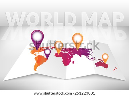 Abstract creative concept vector map of the world for Web and Mobile Applications isolated on background. Vector illustration, creative template design, Business software and social media, origami - stock vector