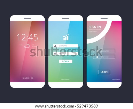 Abstract creative concept vector member login form interface.Art illustration, design theme, modern menu, ui, app, contact empty box,  profil log in