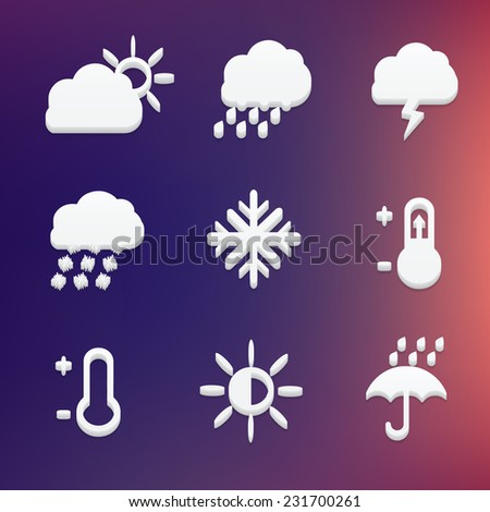 Abstract creative concept vector set of weather icon for Web and Mobile Applications isolated on blur background. Illustration template design, Business infographic and social media, motion video.