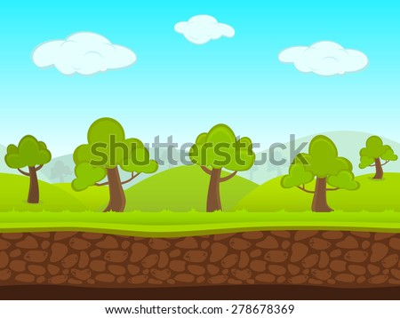 Abstract Creative concept vector summer seamless landscape. Art cartoon unending background with grass, trees, forest, blue sky layers, grounds, cloud, mountains for your game, animated film scene. - stock vector
