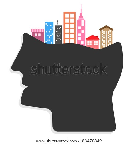 Abstract creative Ideas cities in people's heads concept. vector illustration - stock vector