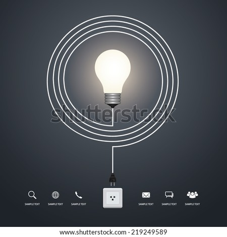 Abstract creative light bulb. Vector infographic idea for template design. - stock vector