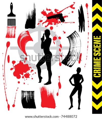 abstract crime scene - stock vector