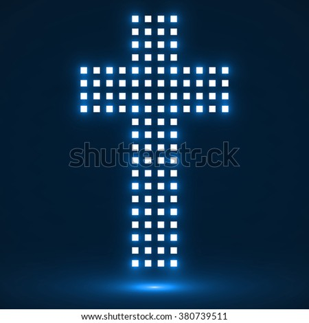Abstract cross of pixels. Christian Symbol. Vector illustration. Eps10 - stock vector